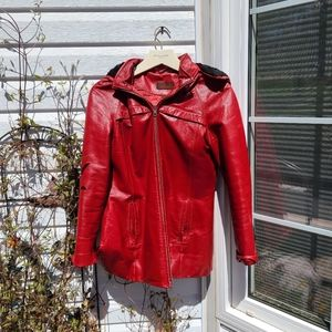 Danier Hooded Red Leather Jacket